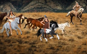 3 hot brave native american women riding their beautiful horses to roundup and tame a herd of wild h