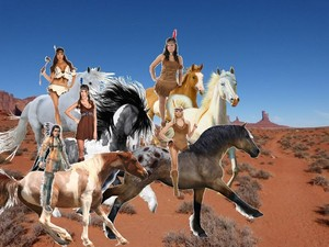 A group of Brave  Strong  and Skilled Sexy Native American Women riding their horses together and te
