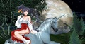 Akeno Himejima sitting on an beautiful unicorn - high-school-dxd fan art