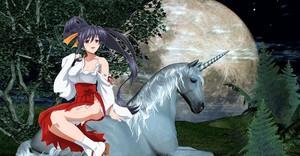 Akeno Himejima sitting on an beautiful unicorn
