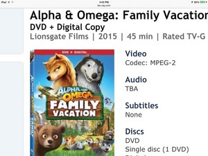 Alpha and omega family vacation DVD version