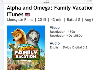 Alpha and omega family vacation iTunes version