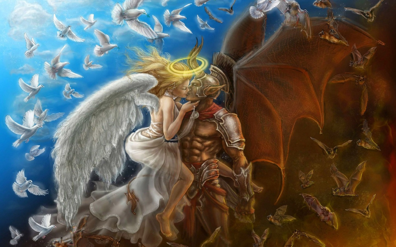 Angel And Devil Fantasy Wallpaper 38775001 Fanpop