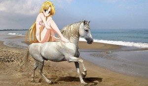Asia Argento riding her beautiful white horse on a 바닷가, 비치