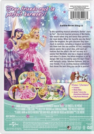 Barbie The Princess & The Popstar NEW DVD ARTWORK