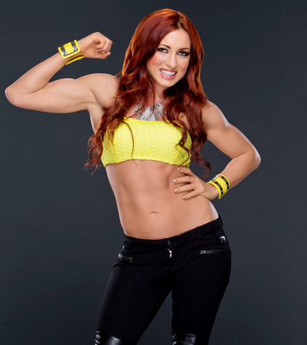 WWE Divas achtergrond possibly containing a zwempak, badpak titled Becky Lynch