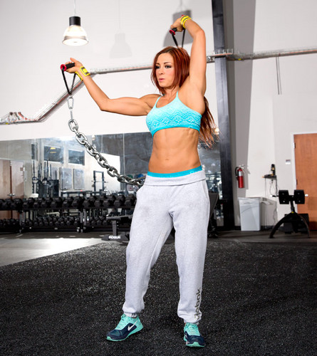 Diva WWE kertas dinding probably with a dumbbell and a barbell called Becky Lynch