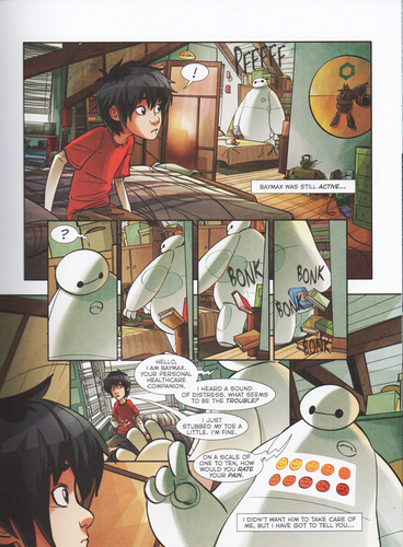 "Big Hero 6 fond d'écran probably with a bureau and animé called Big Hero 6 Comic - ""Baymax's Best Friend"""