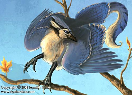 Griffins karatasi la kupamba ukuta probably containing an american crow, a woodpecker, and a jogoo entitled Blue jay Gryphon