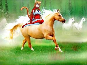 Cute Catgirl Eris with her Beautiful घोड़े