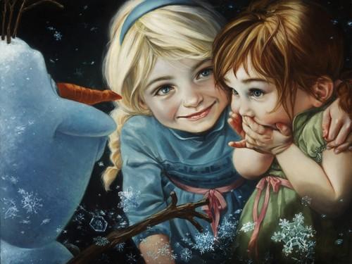 Elsa und Anna Hintergrund possibly containing an octopus called Disney Fine Art - Frozen - Never Let it Go