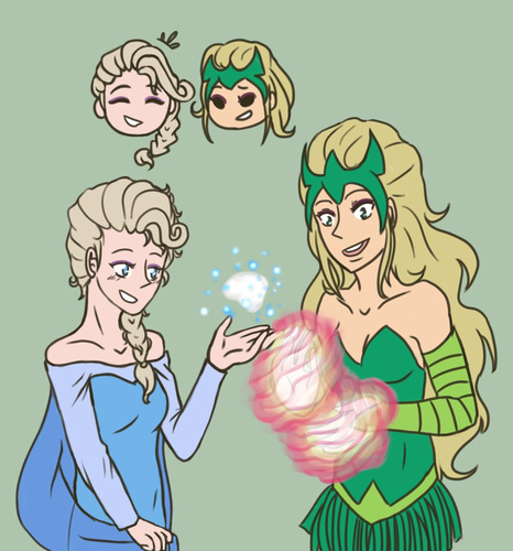 Disney crossover karatasi la kupamba ukuta containing anime entitled Elsa meets Enchantress