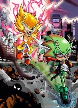 Fleetway Super Sonic VS Scourge the Hedgehog