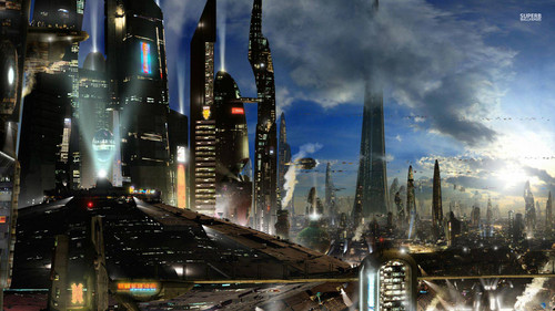 Fantasy Wallpaper Probably With A Business District Street And Refinery Titled Futuristic City