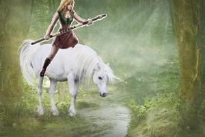 Gabrielle rides on her beautiful unicorn