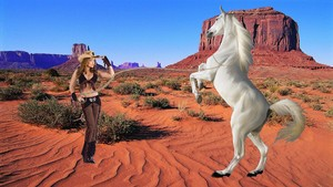 Hot cowgirl tamed a beautiful wild white horse