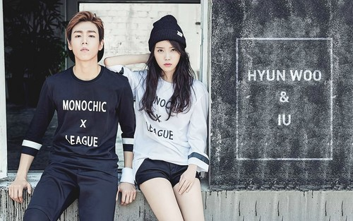 IU wallpaper possibly with a sign entitled IU and Lee Hyun Woo 1920x1200