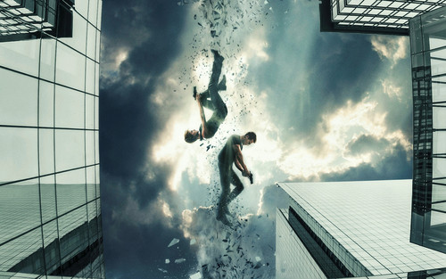 Divergent দেওয়ালপত্র possibly with a stairwell, a street, and a bannister titled Insurgent দেওয়ালপত্র - Tris and Four