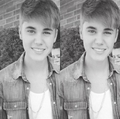 Justin in a black and white photo - justin-bieber photo
