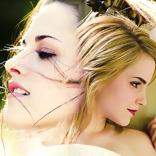 Kristen Stewart vs. Emma Watson wallpaper with a portrait called Kristen and Emma
