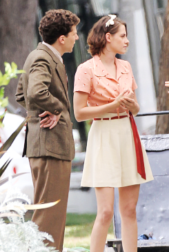 Kristen and Jesse Eisenberg on set of new Woody Allen movie