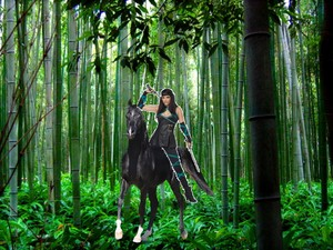 Kunoichi riding through the bamboo forest on her beautiful black horse