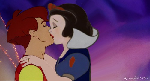 Disney crossover karatasi la kupamba ukuta called Love's First Kiss