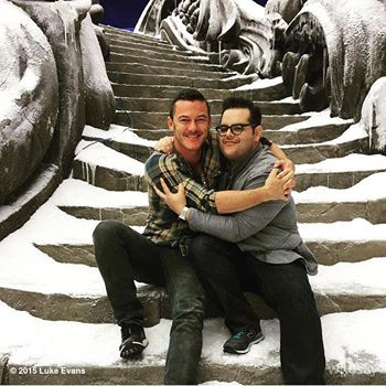 Beauty and the Beast (2017) wallpaper containing a triceratops called Luke Evans and Josh Gad on set of Beauty and the Beast