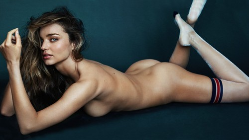 xXx wallpaper with skin called Miranda Kerr Nude Topless Thigh High Stockings