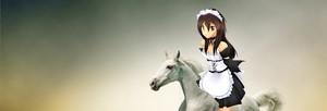 Misaki Ayuzawa riding her beautiful white stallion