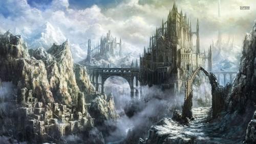 Fantasy Hintergrund titled Mountain schloss