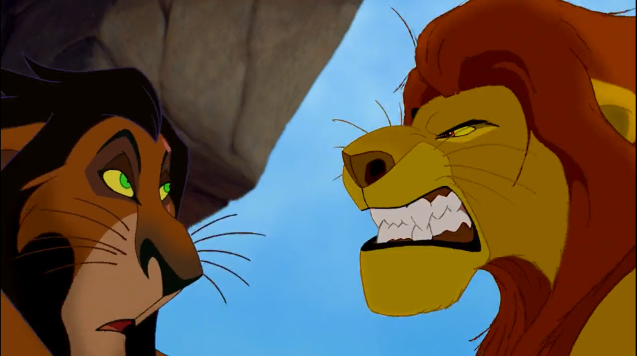 Mufasa snarls at Scar