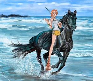 Nami rides on her Beautiful Black Horse