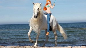 Nami riding on her Beautiful Majestic White Horse