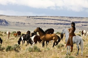 Native American Woman riding her grayish white horse while watching over a herd of wild mustangs