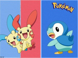 Plusle and Minun and Piplup