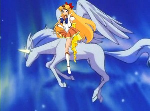Princess Sailor Venus riding Pegasus