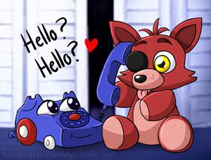 Purple telephone and teddy foxy