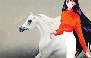 Rei Hino riding on her white stallion