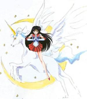 Sailor Mars rides on Pegasus