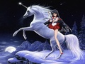Sailor Mars rides on an unicorn