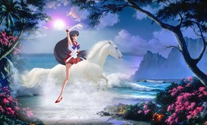 Sailor Mars rides on her beautiful white horse