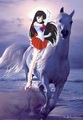 Sailor Mars riding her beautiful white ross
