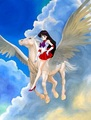 Sailor Mars riding on an beautiful pegasus