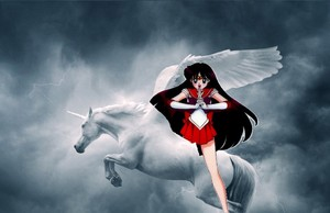 Sailor Mars riding on her beautiful flying unicorn