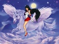Sailor Mars riding on her beautiful white pegasus ross