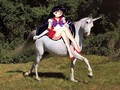 Sailor Mars with her beautiful white unicorn