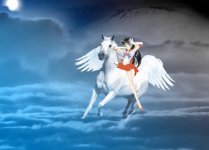 Sailor Mars with her white pegasus