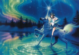 Sailor Mercury rides on her Beautiful Unicorn