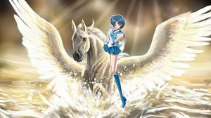 Sailor Mercury riding her Beautiful Pegasus